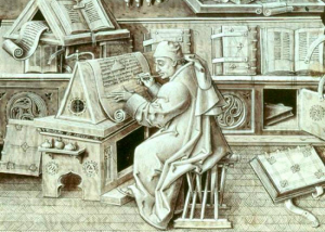 Ilustración medieval de un escriba en pleno proceso de una copia de la Biblia