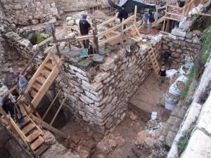 detalle de las excavaciones del Bíblico palacio del Rey David