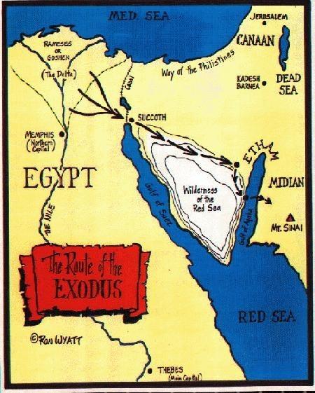 Mapa y ruta de la travesía del paso del Mar Rojo