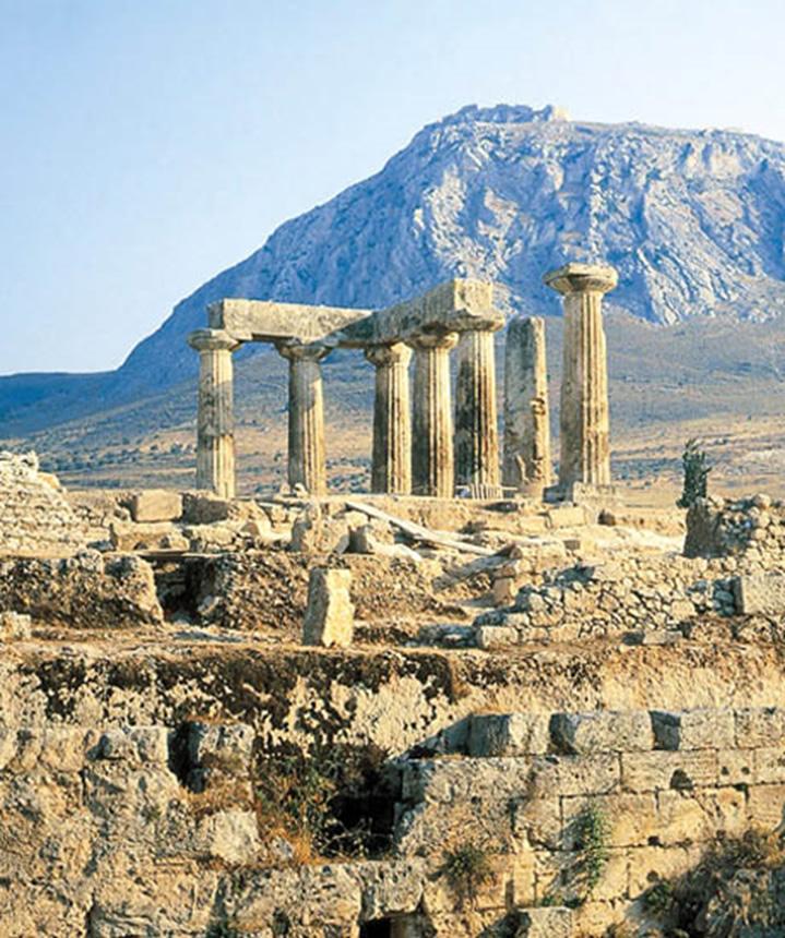 Vista de las ruinas de Corinto