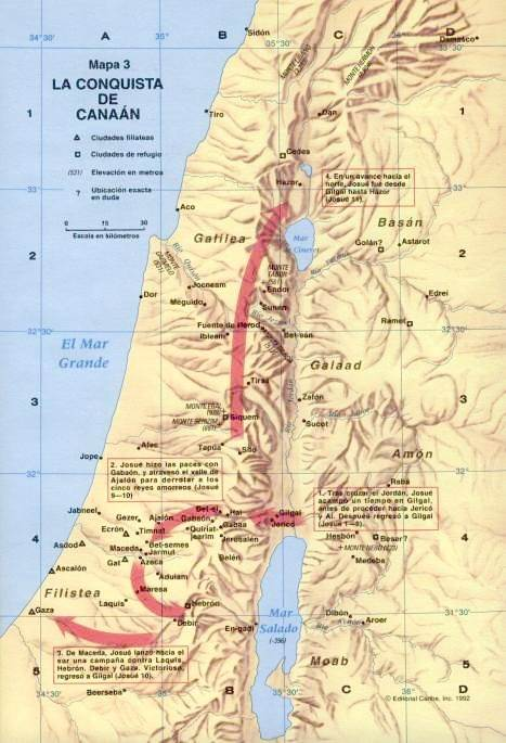 Mapa de la conquista de Canaán