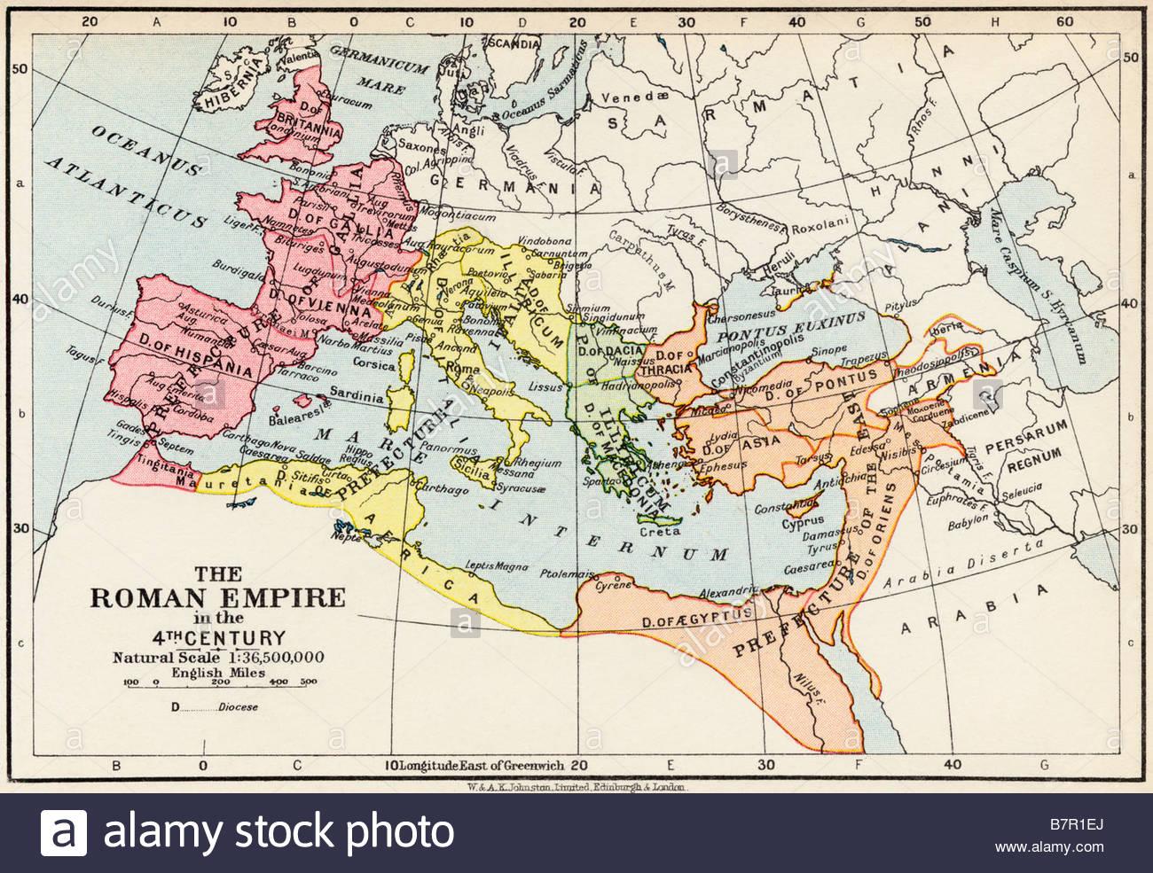 Mapa del imperio romano durante la cuarta centuria