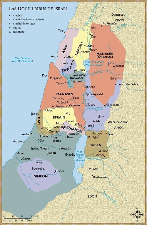 Mapa de las doce tribus de Israel