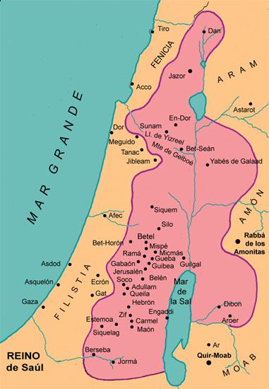 Mapa del reino de Saul