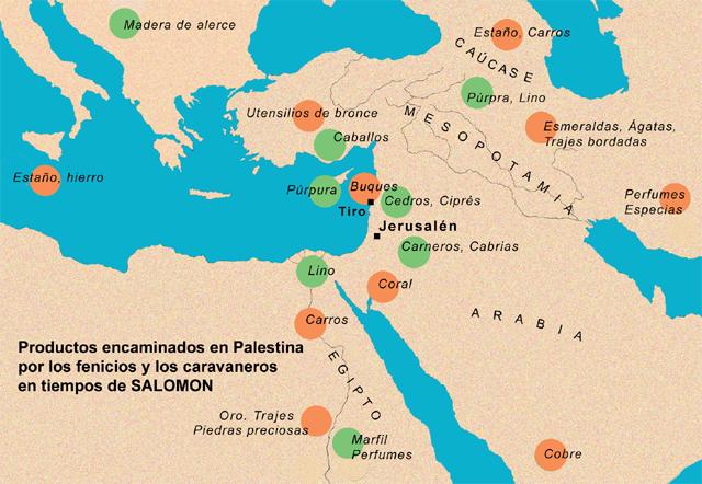 Distribución de los productos fenicios para Palestna
