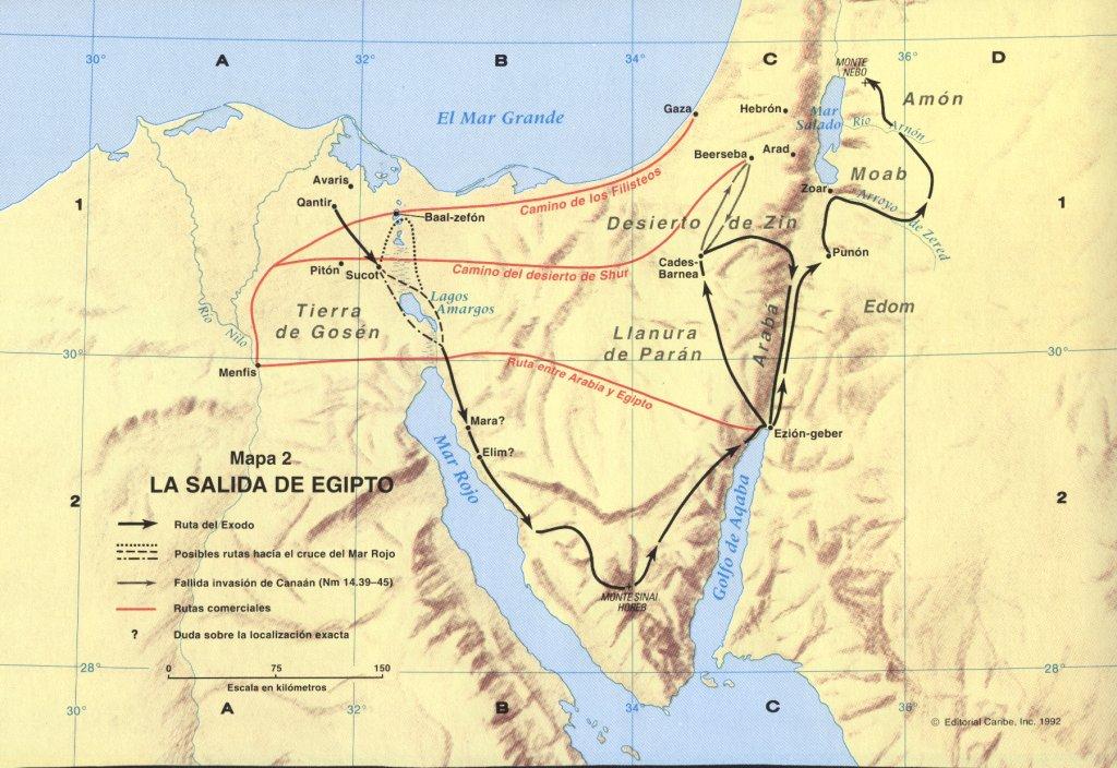 Mapa de la salida de Ejipto