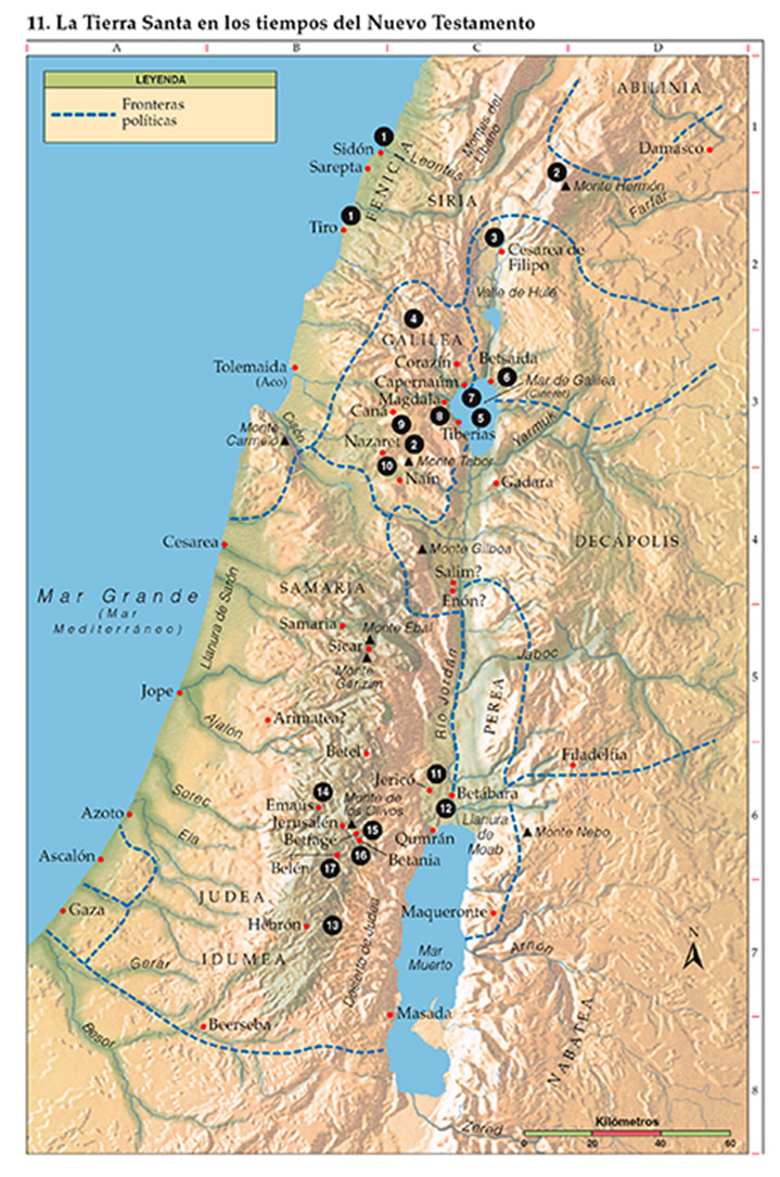 Mapa de la tierra santa y lugares en la época del Nuevo Testamento