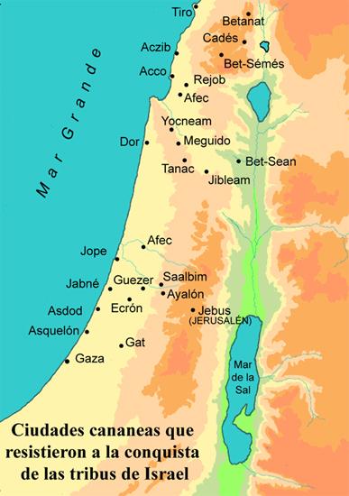 Ciudades cananeas que resistieron a las tribus de Israel