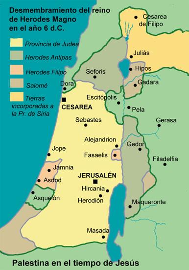 Mapa de Plestina en tiempos de Jesús