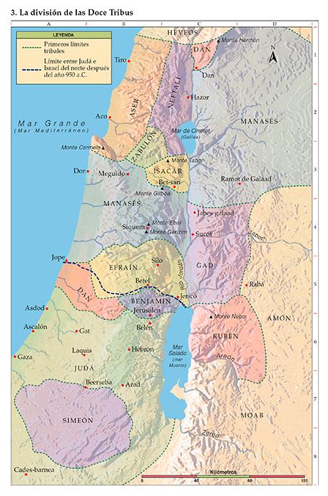 Mapa de la división de las doce Tribus