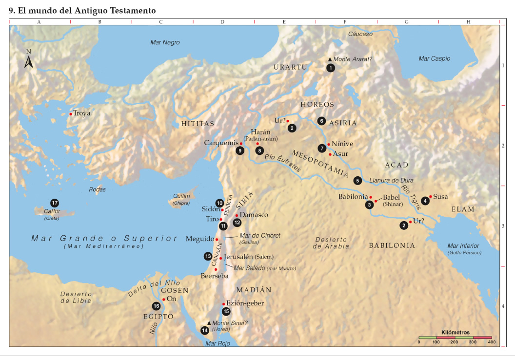 Mapa del mundo del Antiguo Testamento