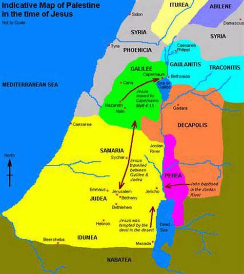Mapa indicativo del los lugares en Palestina en epoca de Mashiaj