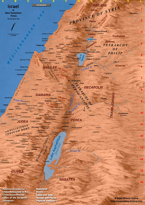 Mapa de Israel con la ubicación de Nazaret