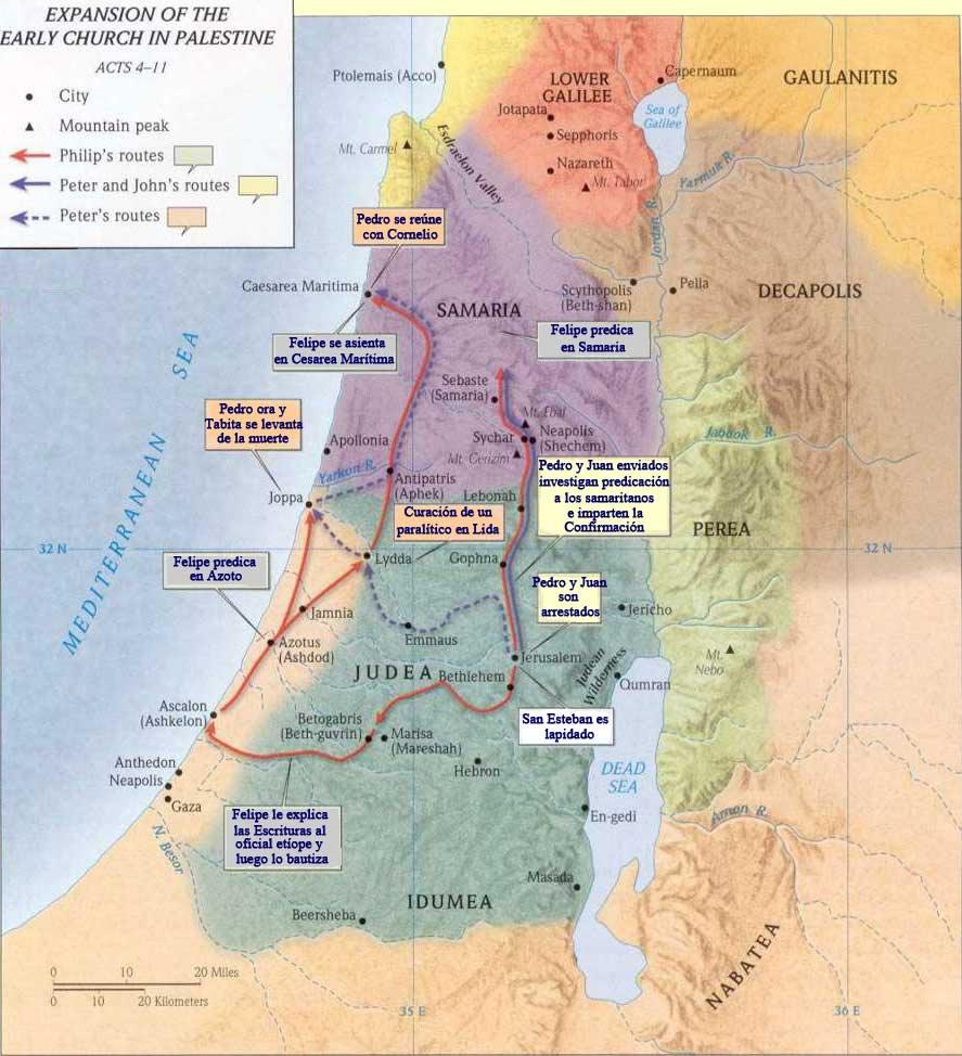 Mapa de la expansión de la iglesia primitiva en Palestina