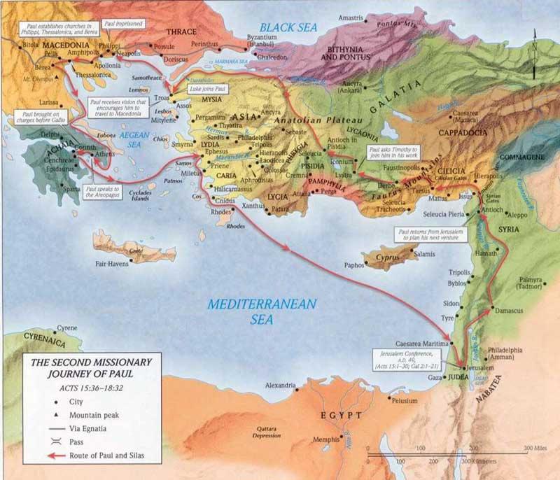 Mapa del segundo viaje misionero de Pablo.