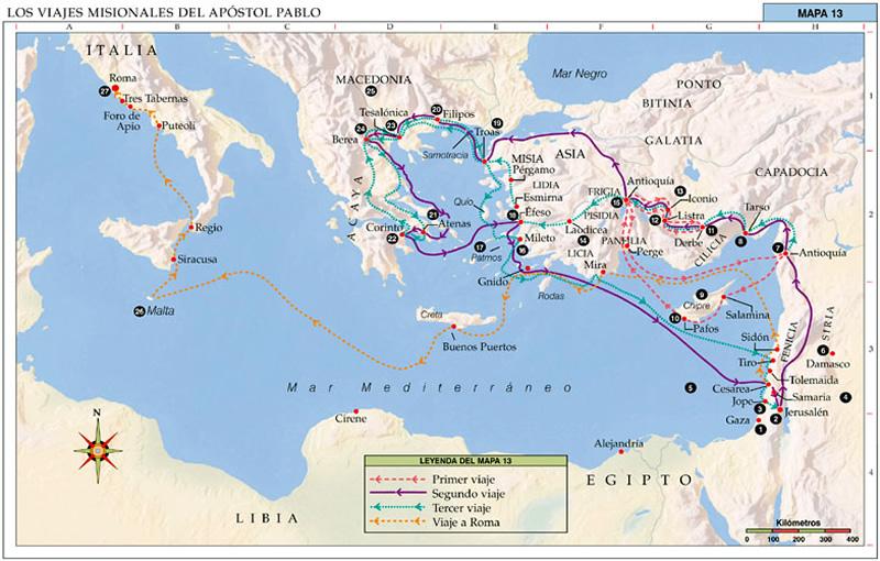 Mapa de los viajes misionales del Apóstol Pablo nº 13