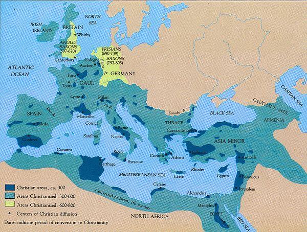 Mapa de los periodos de la conversión al cristianismo