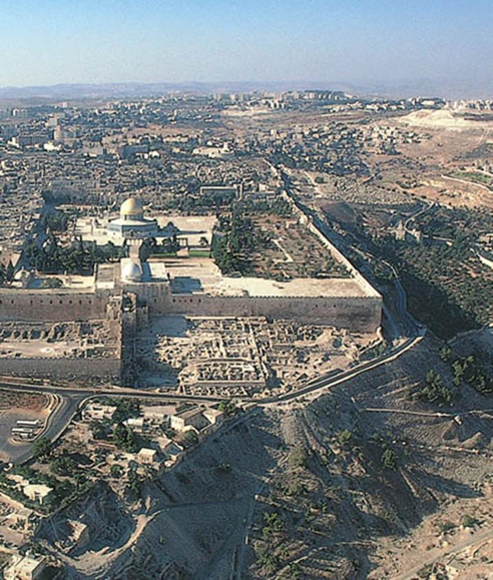 Vista aérea de la ciudad de Jerusalén.