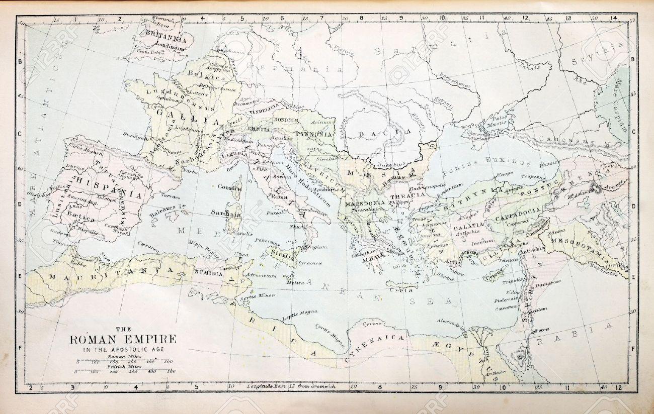 Mapa del imperio romano en la era apostólica de una Biblia del siglo XIX