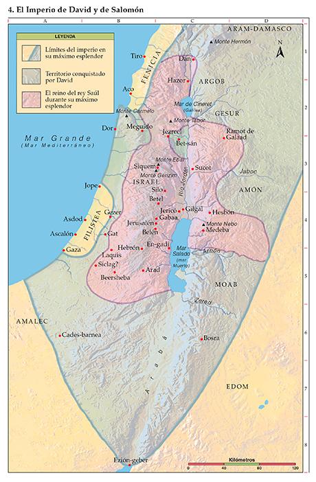 Mapa de los imperios de David y Salomón