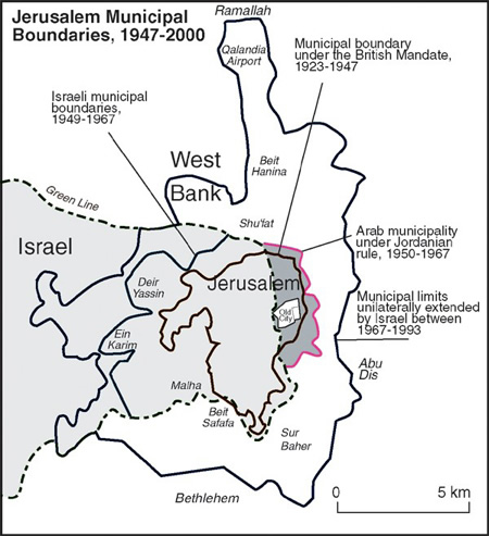 Mapa de los límites de la ciudad de Jerusalen en la segunda mitad del siglo XX