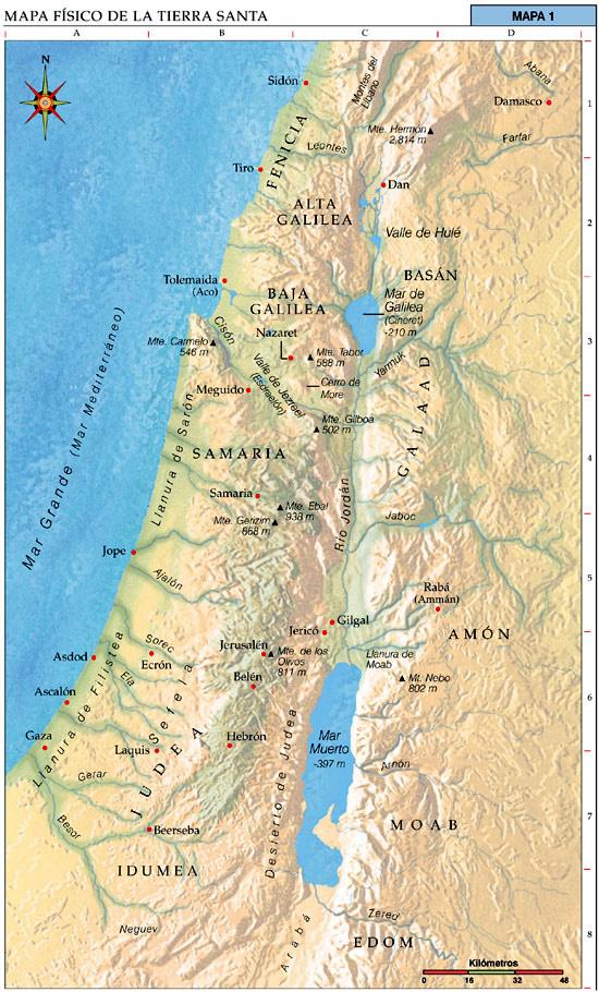 Mapa físico de la Tierra Santa
