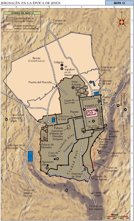 Mapa de Jerusalén y lugares en la época de Mashiaj