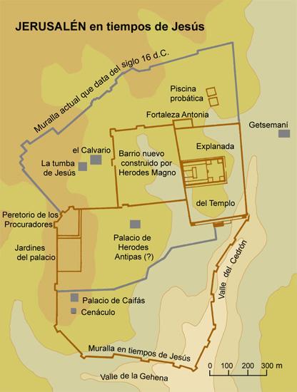 Mapa de Jeruralén en tiempos de Mashiaj