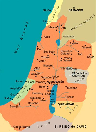 Mapa del reino de David