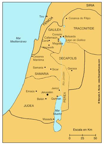 Mapa de Palestina y alrededores