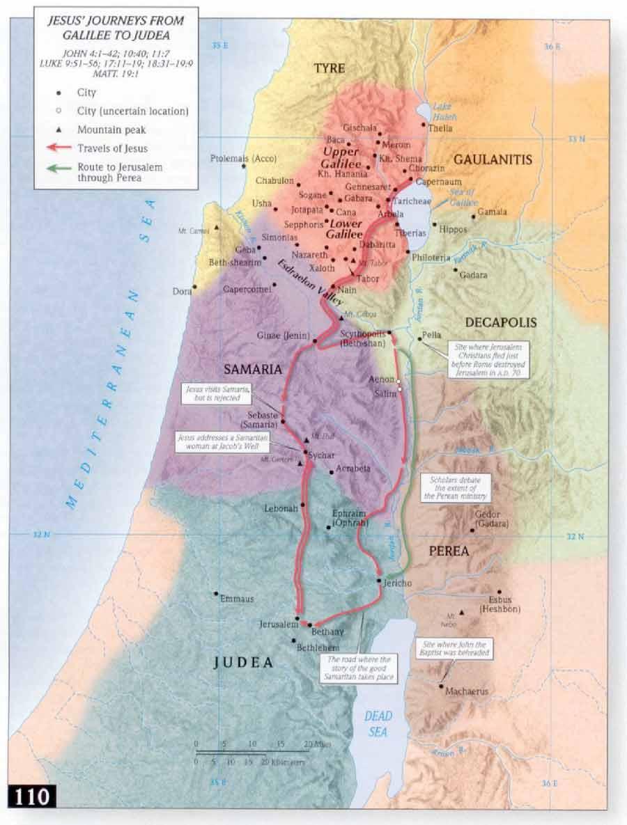 Mapa del viaje de Jesus desde Galilea a Judea