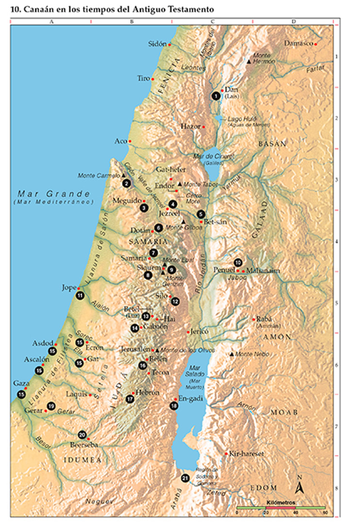 Mapa de Canaan en tiempo del Antiguo Testamento
