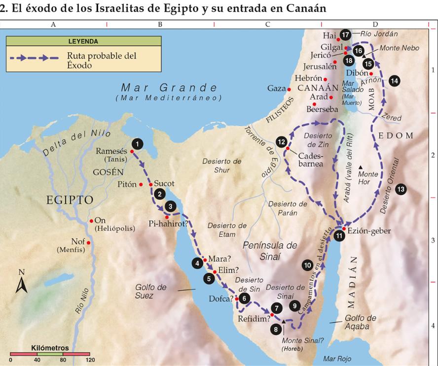 Mapa del éxodo de los Israelitasdesde Ejipto a su entrada a Canaán