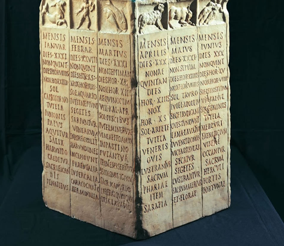 Calendario Romano agricultor esculpido en piedra